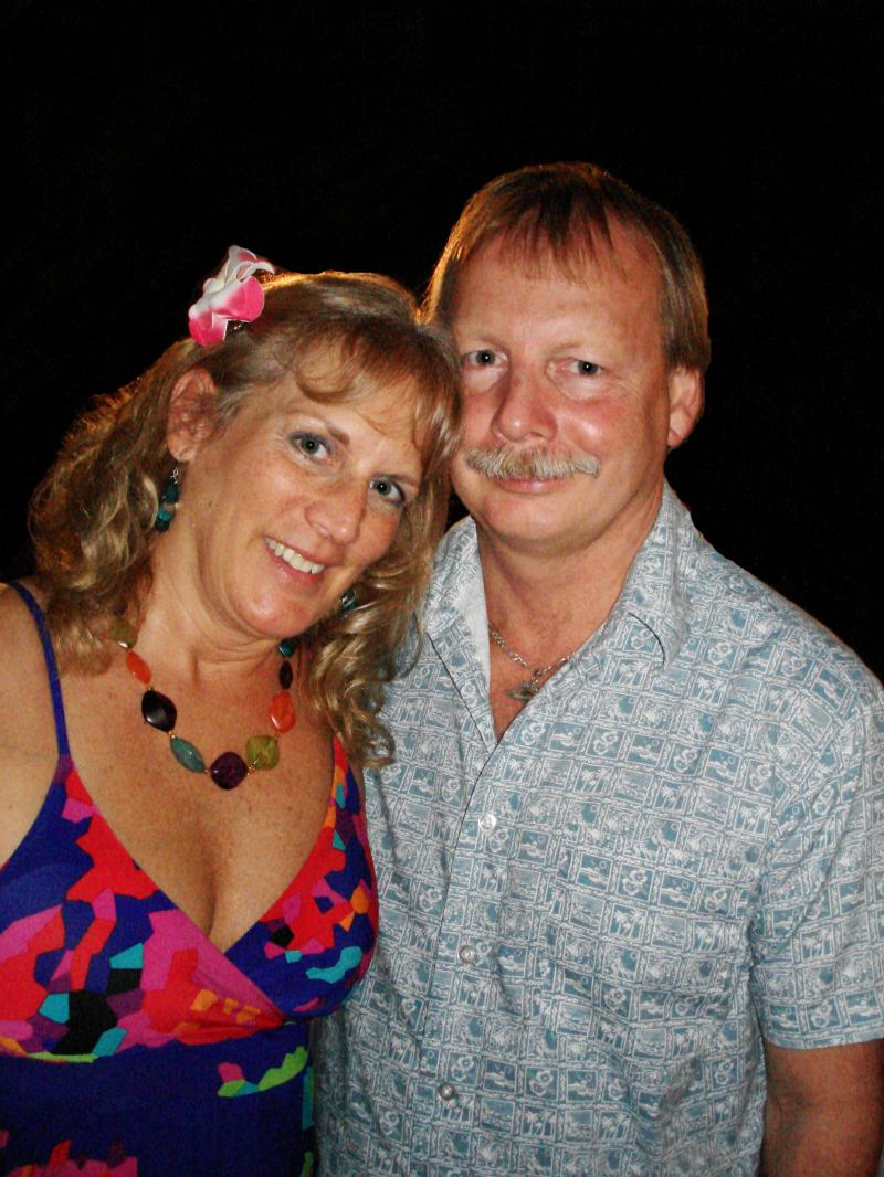 Land surveyor Randy Donckers with wife Donna at the Luau in Kona, Hawaii